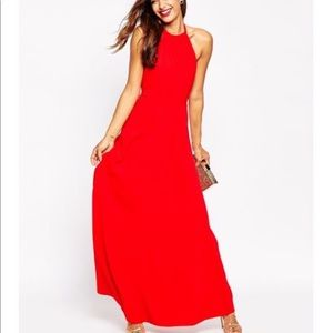 Red forever 21 halter maxi dress